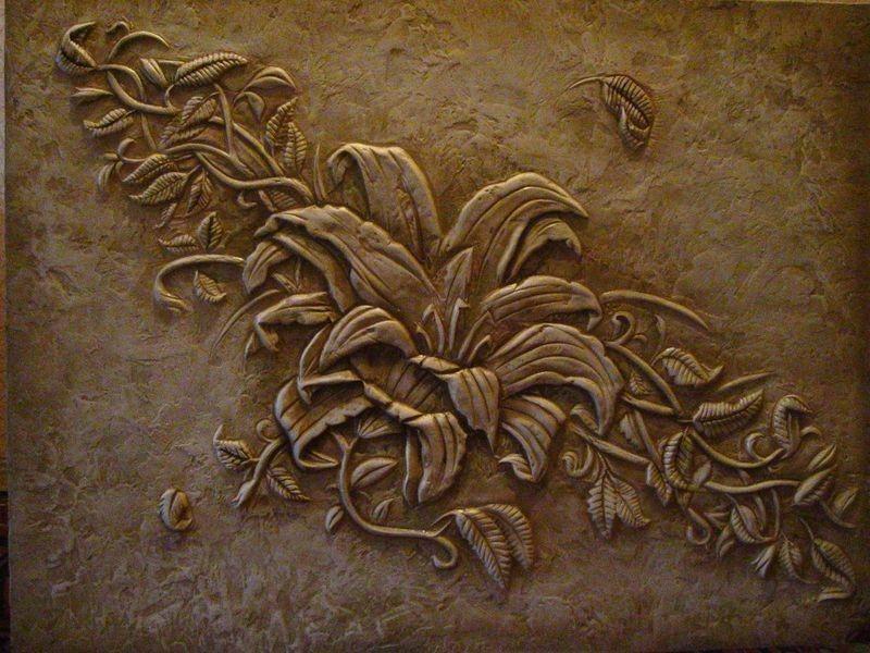 Растения в барельефе