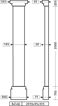 Размеры пилястры 1.20.002