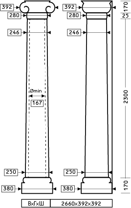Размеры колонны 1.30.214