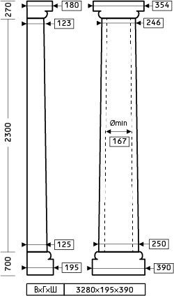 Размеры полуколонны 1.10.205