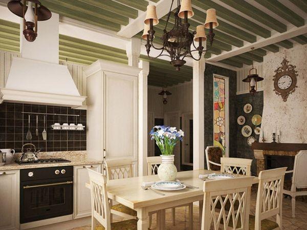 Кухня в стиле прованс с балками