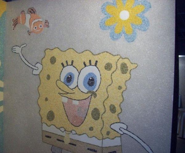 Рисунки на стенах с жидкими обоями