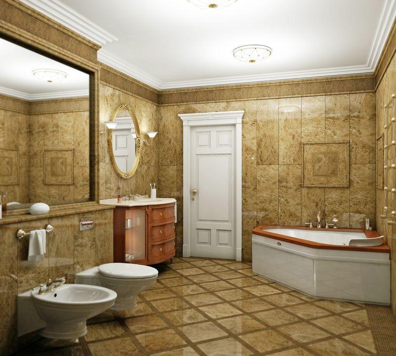 Отделка в ванной лепным декором Европласт
