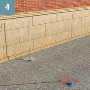 С помощью анкерных болтов прочнозафиксировать фланцы на поверхности.