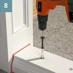 Прочно закрепить основание на поверхности с помощью анкерных болтов,используя отверстия, сделанные ранее.