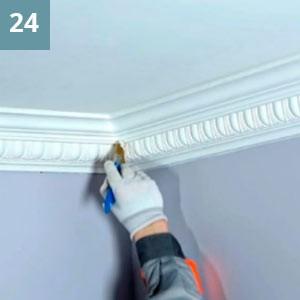 Следуя инструкции производителя  краски, произвести окраску изделий,  начиная от угла помещения.